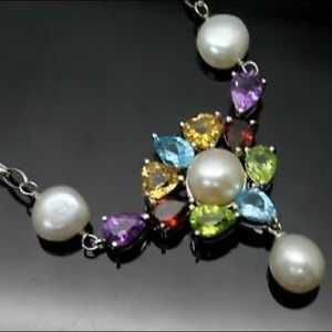 Ross Simons Gemstone & Pearl Necklace